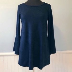 Blue Faux Suede Bell Sleeve Tunic Blouse Size M
